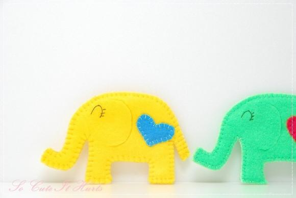 Yellow LOVE cozy elephant coaster 