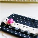 Wesley purse in linen dots and gingham shades of black